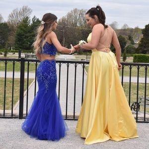 Blue two piece prom dress size 2